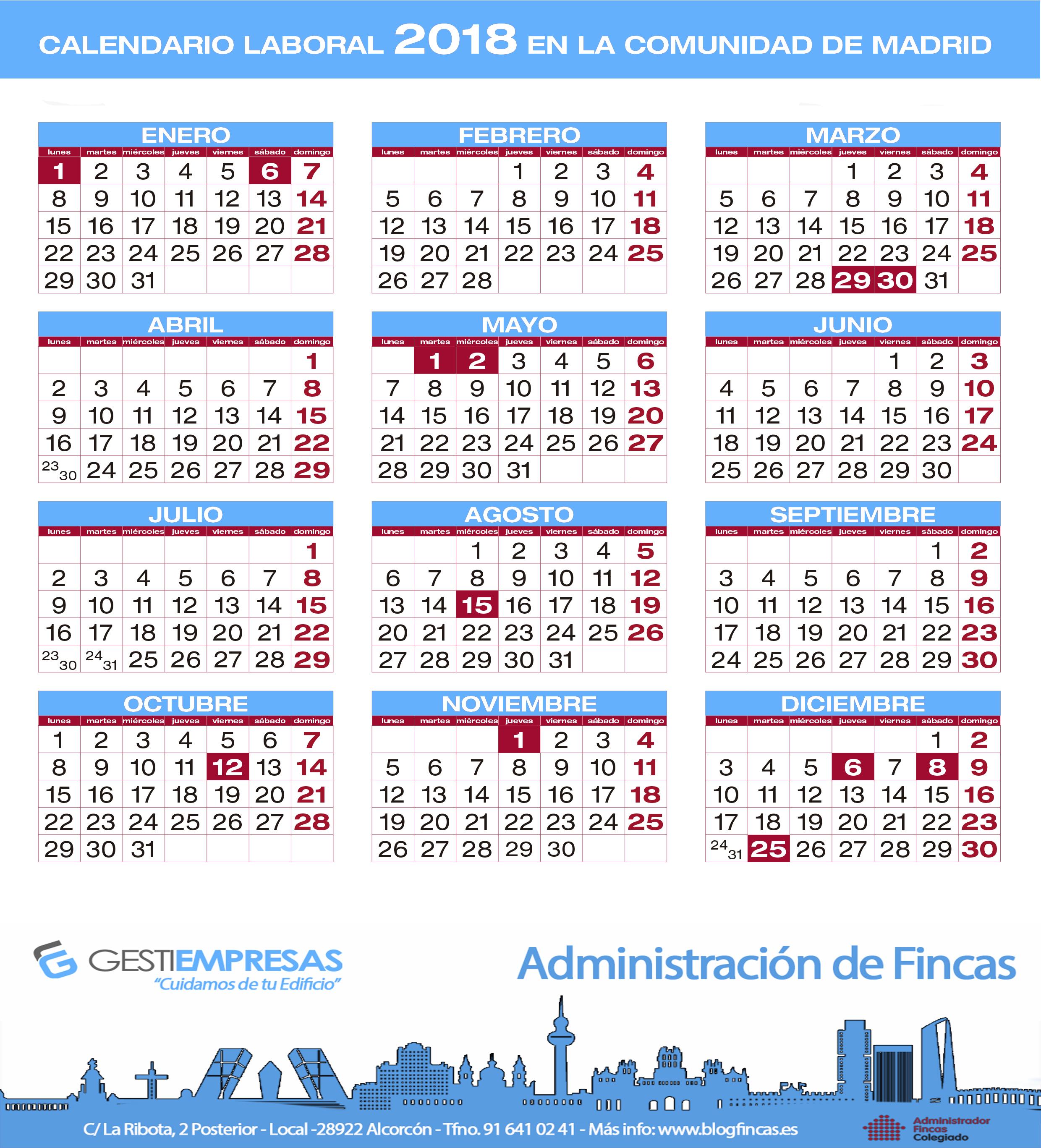 Calendario laboral 2018 y fiestas locales de la comunidad for Calendario eventos madrid